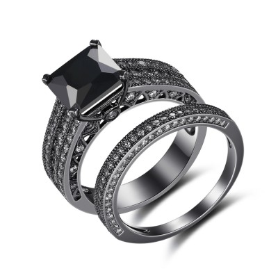Black 925 Sterling Silver Princess Cut Black Engagement Ring