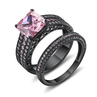 Asscher Cut Pink Sapphire Black 925 Sterling Silver Engagement Ring