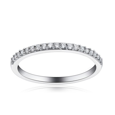 Tinnivi Sterling Silver Created White Sapphire Wedding Band