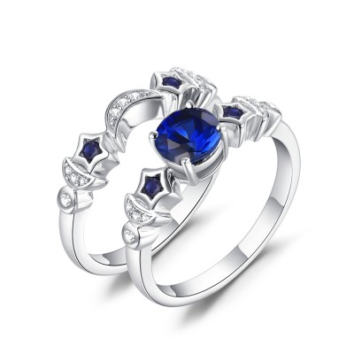Moon and Star Blue Sapphire 925 Sterling Silver Women's Ring