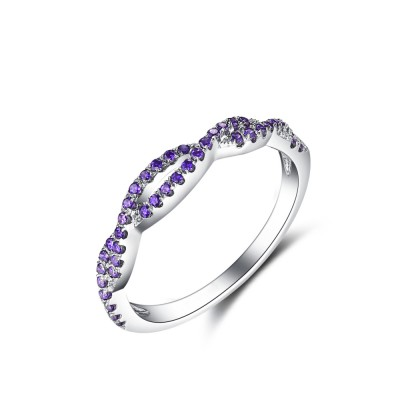Tinnivi Twist Sterling Silver Created Amethyst Sterling Silver Wedding Band
