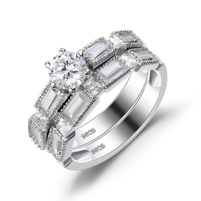 Round Cut White Sapphire Sterling Silver Women's Wedding Ring Set