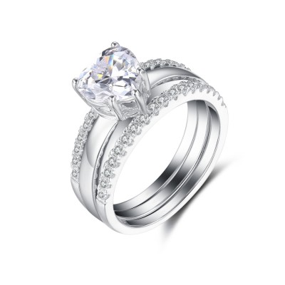 Heart Cut White Sapphire Sterling Silver Women's Wedding Ring