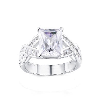 Tinnivi Sterling Silver Twist Emerald Cut Created White Sapphire Engagement Ring