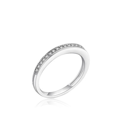 Tinnivi Simple Pave Created White Sapphire Sterling Silver Wedding Band