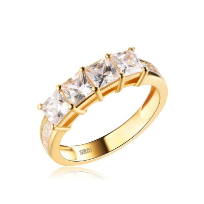 Tinnivi Gold Plated Sterling Silver Princess Cut Created White Sapphire Wedding Band