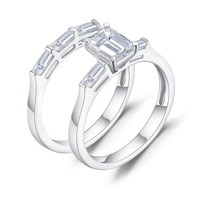 Emerald Cut White Sapphire 925 Sterling Silver Women's Bridal Ring