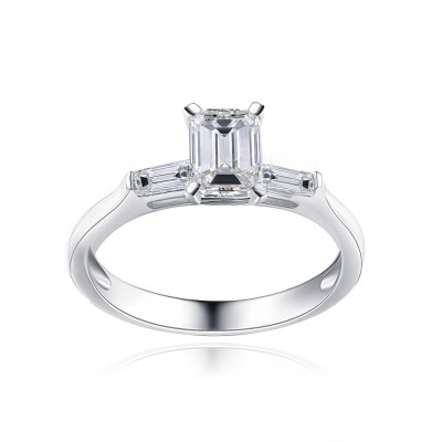Tinnivi Emerald Cut Created White Sapphire Sterling Silver Engagement Ring