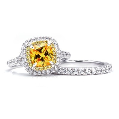 Cushion Cut Topaz 925 Sterling Silver Halo Bridal Sets