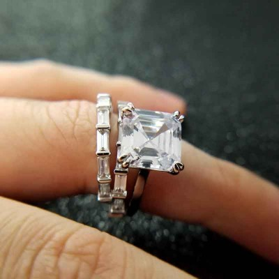 Stunning Asscher Cut White Sapphire 925 Sterling Silver Bridal Sets