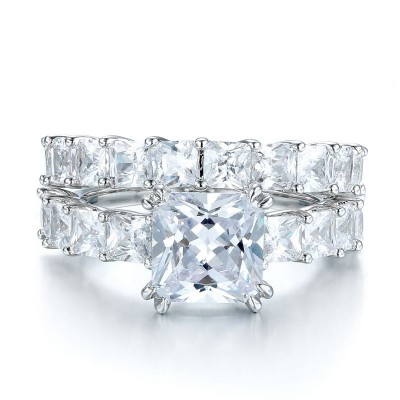 Classic Princess Cut White Sapphire 925 Sterling Silver Prong Bridal Sets