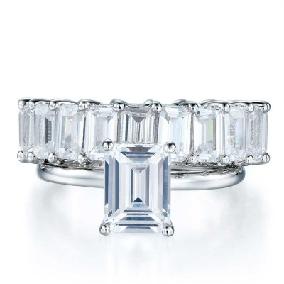 Gorgeous Emerald Cut White Sapphire 925 Sterling Silver Bridal Sets