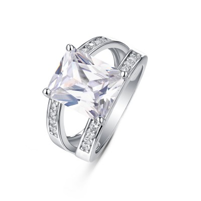 Tinnivi Gorgeous Princess Cut Created White Sapphire Sterling Silver Engagement Ring