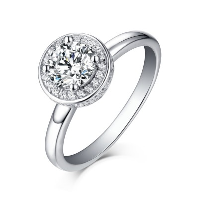 Tinnivi Sterling Silver Round Cut Created White Sapphire Halo Engagement Ring