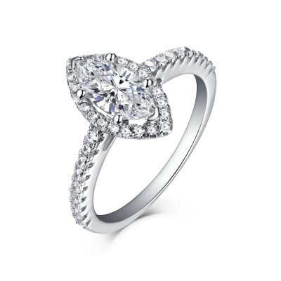 Tinnivi Sterling Silver Marquise Cut Created White Sapphire Classic Halo Engagement Ring