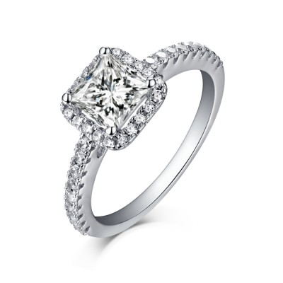 Tinnivi Princess Cut Created White Sapphire Sterling Silver Halo Engagement Ring
