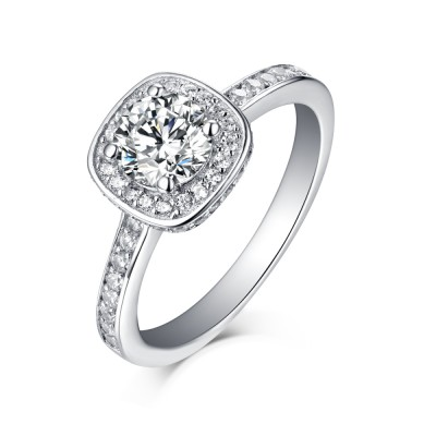 Tinnivi Classic Round Cut Created White Sapphire Sterling Silver Halo Engagement Ring