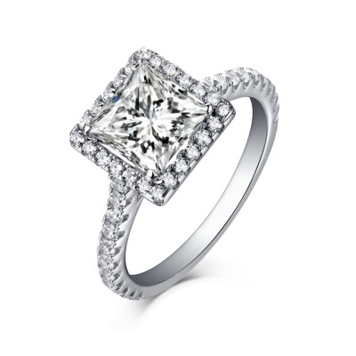Tinnivi Sterling Silver Cushion Cut Created White Sapphire Classic Halo Engagement Ring