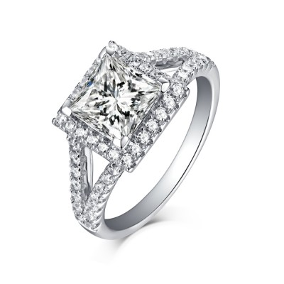 Tinnivi Cushion Cut Sterling Silver Created White Sapphire Halo Engagement Ring