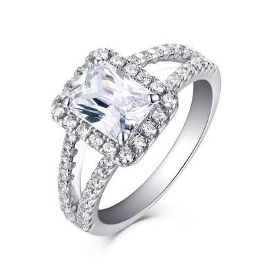 Tinnivi Sterling Silver Emerald Cut Created White Sapphire Halo Engagement Ring