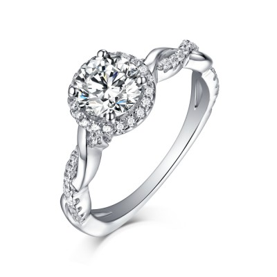 Tinnivi Round Cut Created White Sapphire Sterling Silver Halo Engagement Ring