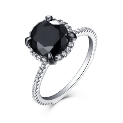 Tinnivi Sterling Silver Round Cut Created Black Diamond Halo Engagement Ring