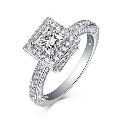 Tinnivi Sterling Silver Cushion Cut Created White Sapphire Vintage Halo Engagement Ring