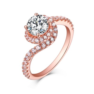 Tinnivi Rose Gold Sterling Silver Round Cut Created White Sapphire Halo Engagement Ring