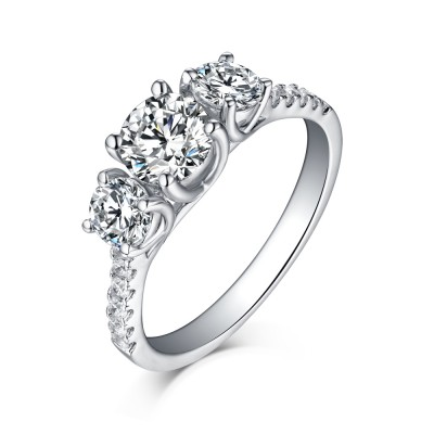 Tinnivi Sterling Silver Round Brilliant Cut Created White Sapphire 3 Stone Engagement Ring
