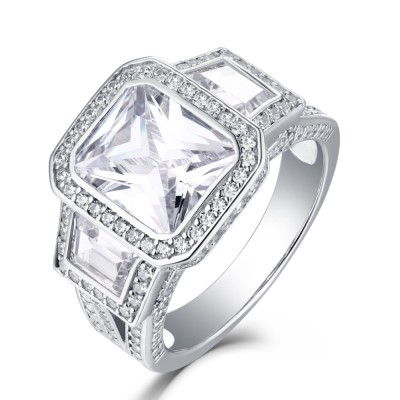 Tinnivi Sterling Silver Three Stone Halo Radiant Cut Created White Sapphire Engagement Ring
