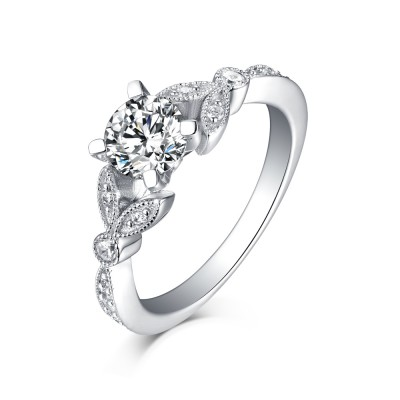 Tinnivi Sterling Silver Petite Vintage Pave Leaf Created White Sapphire Engagement Ring