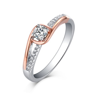 Tinnivi Rose Two Tone Sterling Silver Round Cut Created White Sapphire Engagement Ring