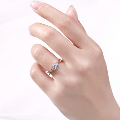Tinnivi Sterling Silver Round Cut Created White Sapphire Classic Rose Gold Color Engagement Ring