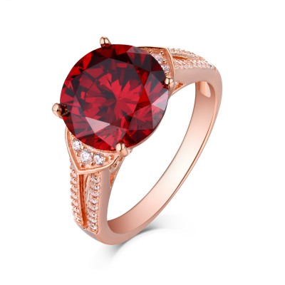 Tinnivi Sterling Silver Created Ruby & Sapphire Rose Gold Engagement Ring