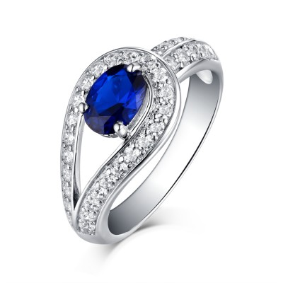 Tinnivi Sterling Silver Created Sapphire Couture Solitaire Engagement Ring