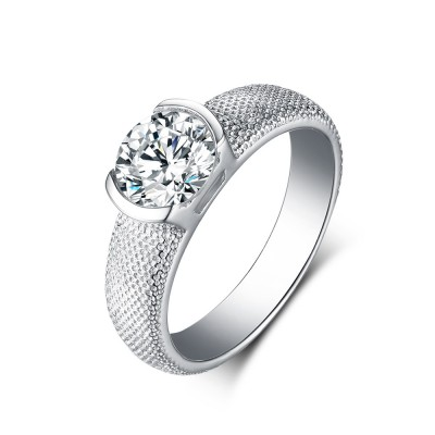 Tinnivi Sterling Silver Round Cut Created White Sapphire Solitaire Engagement Ring