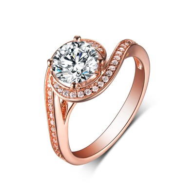 Tinnivi Rose Gold Sterling Silver Round Cut Created White Sapphire Engagement Ring