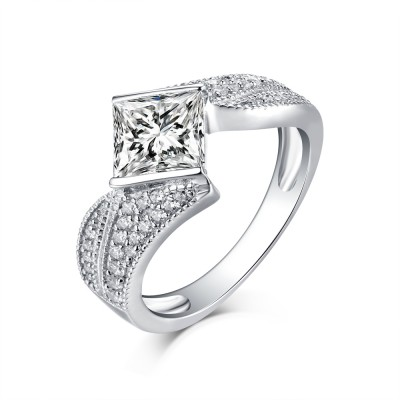 Tinnivi Sterling Silver Princess Cut Created White Sapphire Modern Engagement Ring