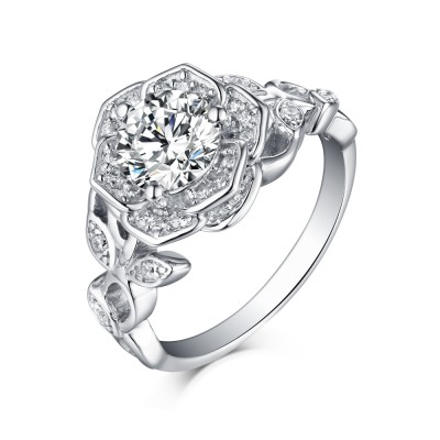 Tinnivi Sterling Silver Created White Sapphire Flower Halo Engagement Ring