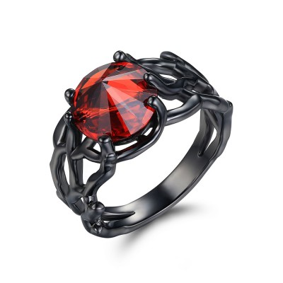 Tinnivi Round Cut Created Garnet Sterling Silver Engagement Ring