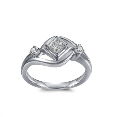 1/10CT Princess Cut Gemstone Sterling Silver Engagement Ring