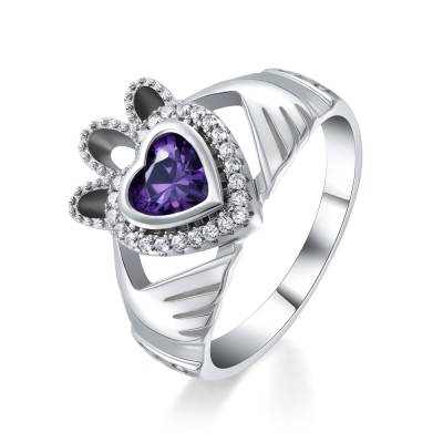Tinnivi Sterling Silver Heart Cut Created Amethyst Claddagh Ring