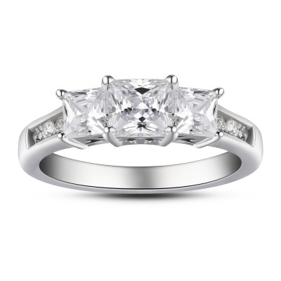 Princess Cut Three Stone 925 Sterling Silver White Sapphire Women's Engagement Ring