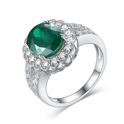 Oval Cut Emerald White Sapphire 925 Sterling Silver Women's Engagement Ring