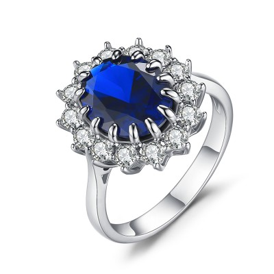 Oval Cut Sapphire 925 Sterling Silver Engagement Ring