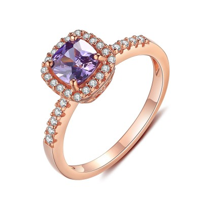 Rose Gold 925 Sterling Silver Cushion Cut Amethyst Engagement Ring