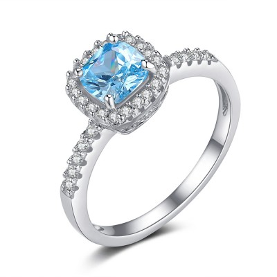 Cushion Cut Aquamarine 925 Sterling Silver Engagement Ring