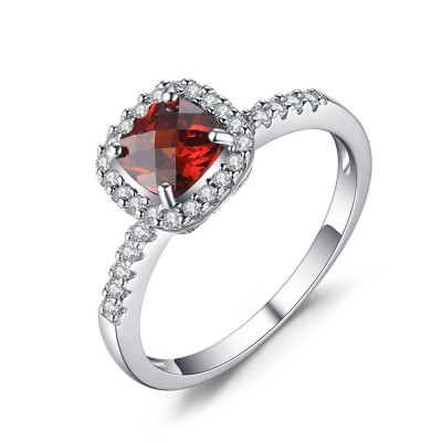 Cushion Cut Ruby 925 Sterling Silver Engagement Ring