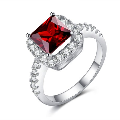 Asscher Cut Ruby 925 Sterling Silver Birthstone Ring