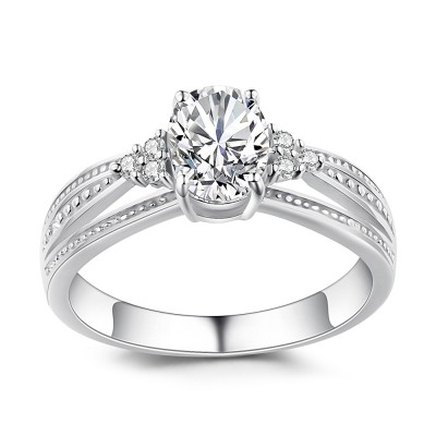 Oval Cut White Sapphire 925 Sterling Silver Women's Engagement Ring
